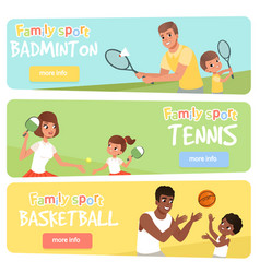 set of 3 banners with sport parents and their vector image
