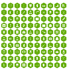 100 medical care icons hexagon green vector