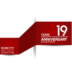 19 years anniversary design with red and white vector