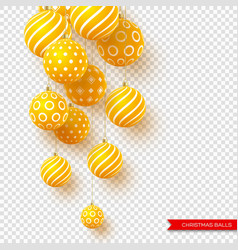 3d christmas yellow balls with geometric pattern vector