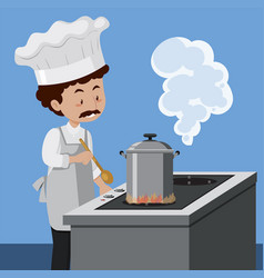 A chef cooking with pressure cooker vector