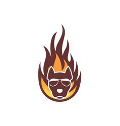 abstract fire dog logo icon vector image
