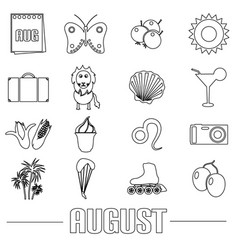 August month theme set of simple outline icons vector