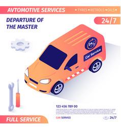 Banner advertises departure master for repair vector