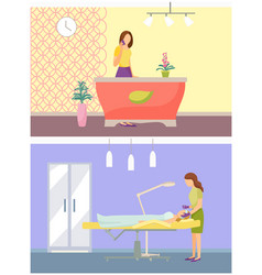Beauty spa salon rooms and receptionist set vector
