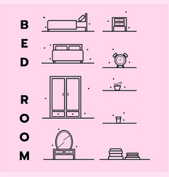 Bedroom icon flat design vector