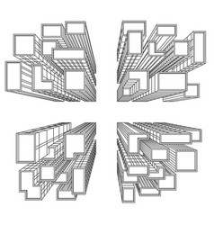 big city with skyscrapers birds eye view vector image