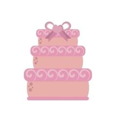 big wedding cake pink ribbon heart vector image