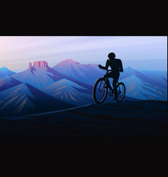 biking tour downhill sunset in mountains vector image
