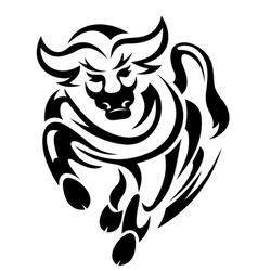 Black bull in tribal style vector