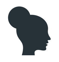 black silhouette of an elegant female head in vector image
