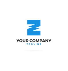 blue logo letter z energy vector image