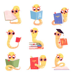 Bookworm characters worms kids reading books vector