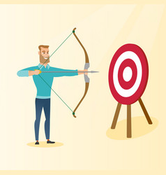 bowman aiming with a bow and arrow at the target vector image