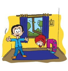 boy and girl morning exercise vector image