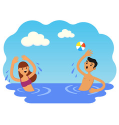 boy and girl play ball in sea vector image