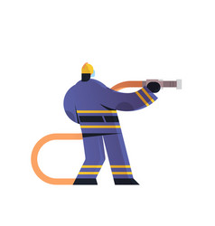 brave fireman holding hose firefighter wearing vector image