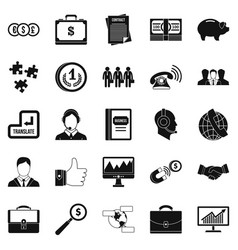 business people icons set simple style vector image