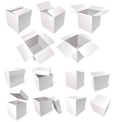 Cardboard boxes isolated on white background vector