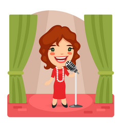 cartoon singer lady on stage vector image