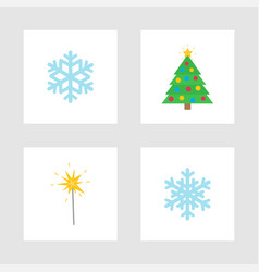 christmas holiday winter symbols isolated icons vector image