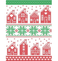 Christmas Seamless pattern with gingerbread house vector