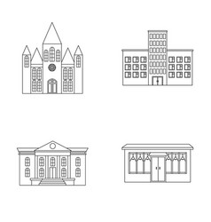 Church hospital cafe museumbuilding set vector