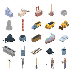 Coal industry icons set isometric style vector