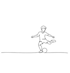 continuous line drawing football players sports vector image