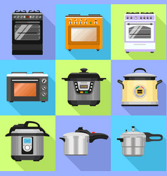 Cooker icon set flat style vector