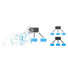 Damaged dot halftone hierarchy icon vector