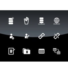 Database icons on black background vector
