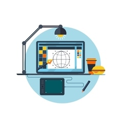 Design Graphic Work Space Flat vector