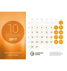 Desk Calendar for 2017 Year October Design Print vector