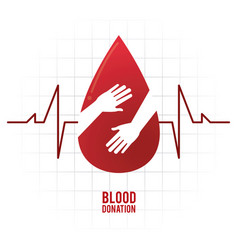Drop hand pulse blood donation icon vector