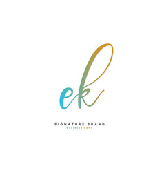 E k ek initial letter handwriting and signature vector