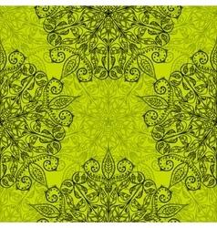 Ethnic decorative handmade green seamless pattern vector image