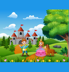 fairy tale of beautiful princess and prince on the vector image