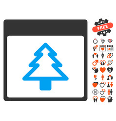 Fir tree calendar page icon with love bonus vector