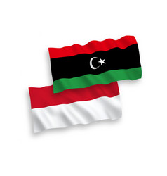 Flags indonesia and libya on a white background vector