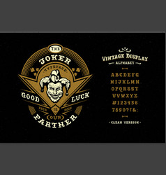font joker hand crafted retro typeface vector image