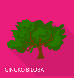 Gingko biloba icon flat style vector