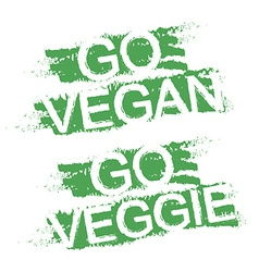 Go vegan Go veggie Green graffiti signs vector image