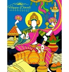 Goddess Lakshmi and Lord Ganesha on happy Diwali vector