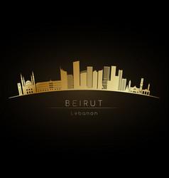 golden logo beirut skyline silhouette vector image