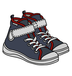 Gray and white childrens sneakers vector