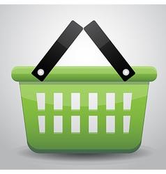 Green basket shopping vector image