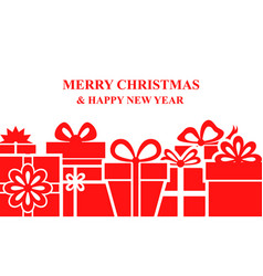 Greeting christmas banner with gifts vector