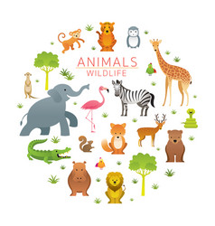 group wild animals zoo vector image