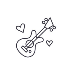 guitar music line icon concept guitar music vector image